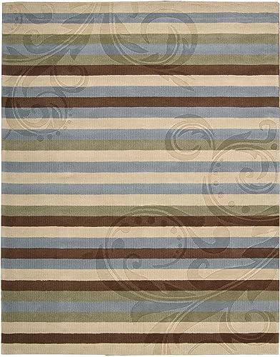 Nourison Elements Blue/Brown Stripe 7.3-Feet