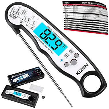 Instant Read Meat Thermometer - Best Waterproof Ultra Fast Thermometer with Backlight & Calibration. Kizen Digital Food Thermometer for Kitchen, Outdoor Cooking, BBQ, and Grill! (Black)