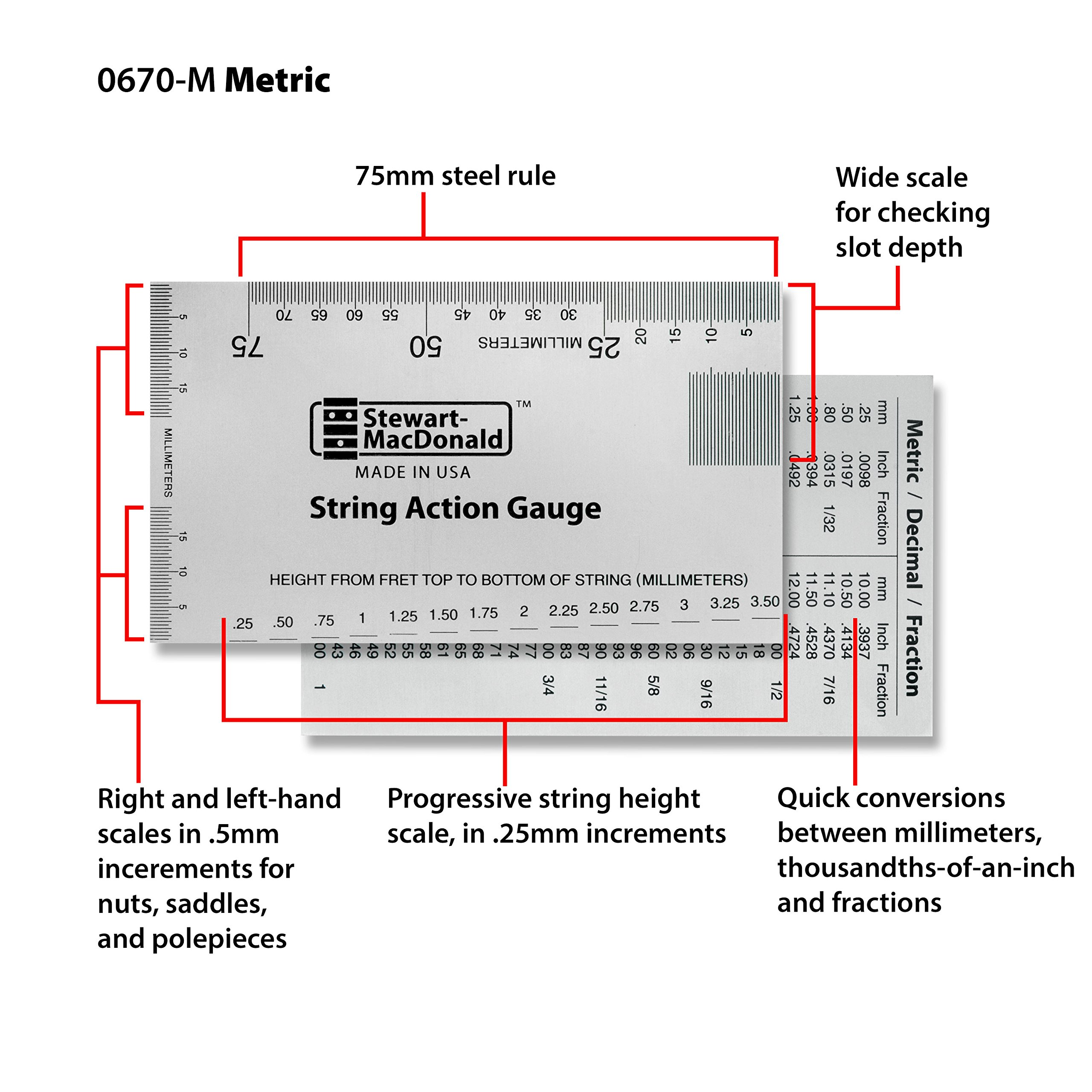 StewMac String Action Gauge And Ruler, Metric, Stainless Steel - Designed by StewMac, The Original measuring tool for acoustic and electric guitar, and bass setup