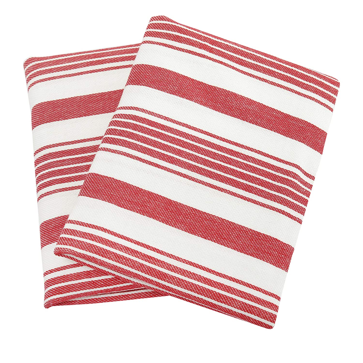 """Set of 2 Kitchen Towels, Stripes, 100% Cotton, Eco Friendly and Safe, Suitable for all Kitchens, Poppy Red/White Color, Size 18""""X26"""" Product of Cote De Amor"""