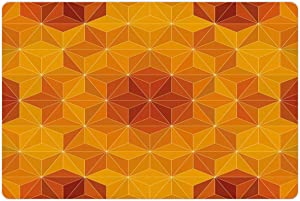 Lunarable Psychedelic Pet Mat for Food and Water, Abstract Triangular Cube Forms Color Spectrum Fantasy Theme Artwork Print, Rectangle Non-Slip Rubber Mat for Dogs and Cats, Orange