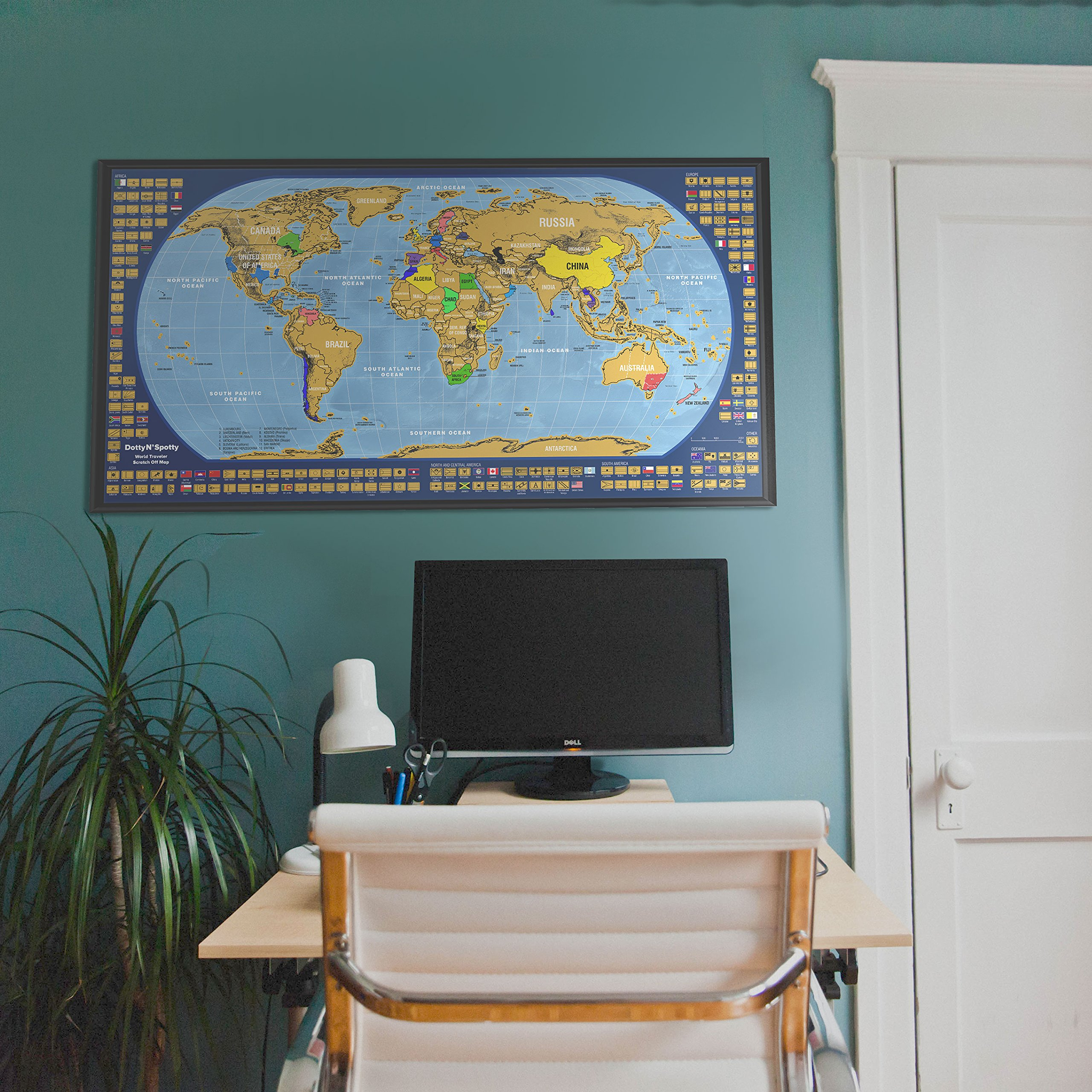 Scratch off Map of the World, with country flags and US state borders - Laminated surface - Scrape tool included - Bright and Vibrant Colors - Designed by Dotty N'Spotty by Dotty N'Spotty (Image #3)