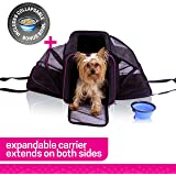 Ruff n Ruffus Dual Expandable Soft Pet Carrier | Airline Approved | Safe for use as pet Car Seat | For Dogs Cats and Small Pets | Two Sided Expandable Kennel Crate | Spacious Soft Interior