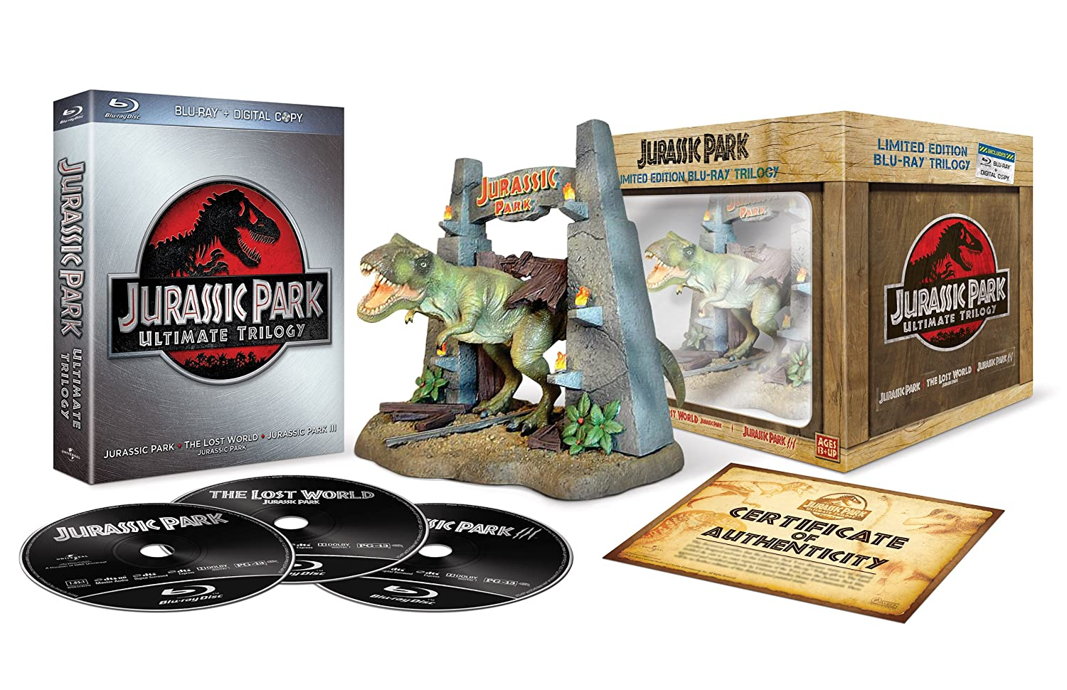 buy popular 3e854 b65a9 Amazon   Jurassic Park Ultimate Trilogy Gift Set (Blu-ray + Digital Copy)    映画