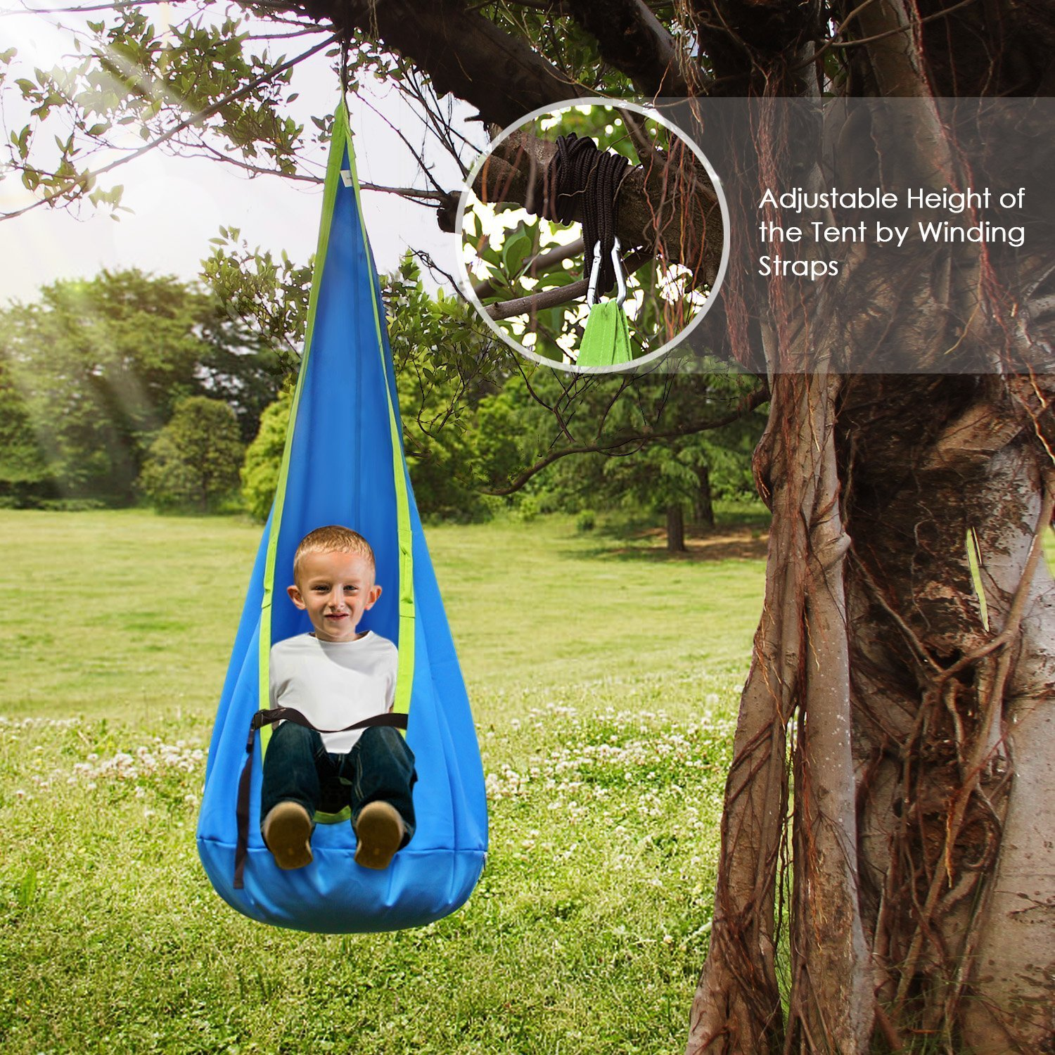 INTEY Hanging Cave Kids Hanging Chair with Hook and Hanging Ropes, Hanging Sack as Cuddly Cave or Gymnastics Unit for Kids, Blue/Green by INTEY-US (Image #5)