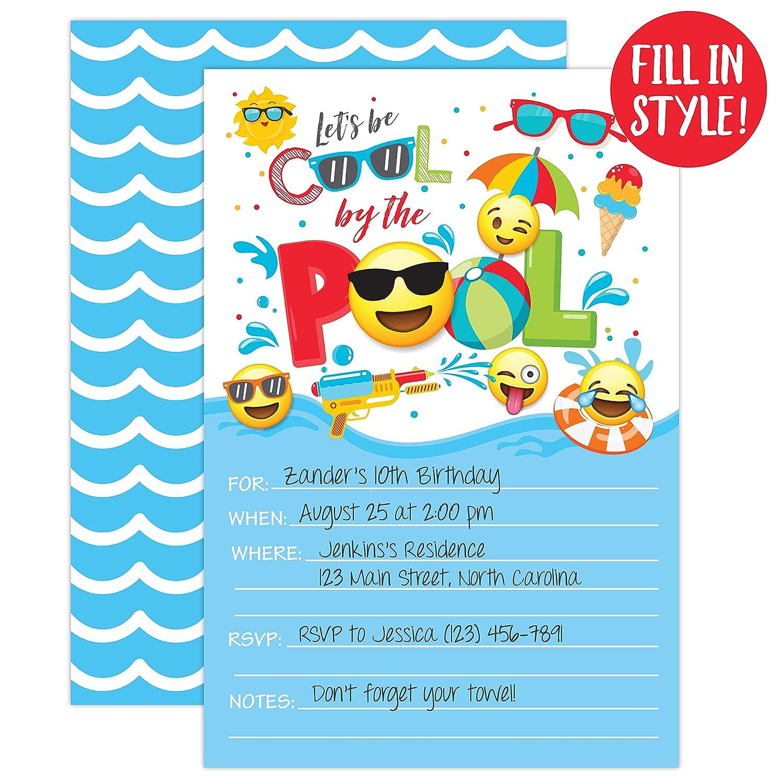 Amazon Boy Emoji Pool Party Birthday Invitations Summer Bash Splash Pad Water Park Invites 20 Fill In With