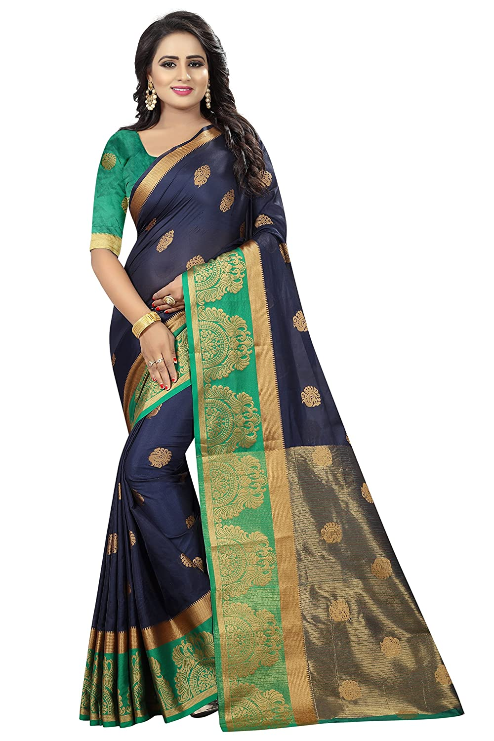 Green Color Synthetic with Blouse Piece Saree