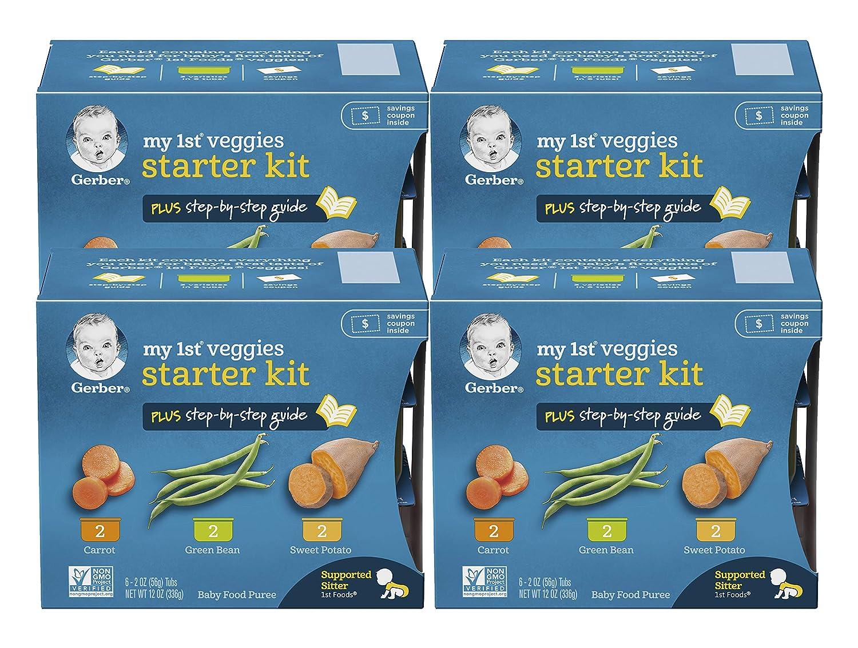 Gerber My First Veggies Baby Food Starter Kit - 2 Carrot, 2 Green Bean, 2 Sweet Potato - 2 OZ Tubs, 6 CT (Pack of 4)
