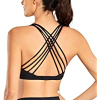 CRZ YOGA Padded Strappy Sports Bras for Women Workout Clothes Active Wear Yoga Bra Tops