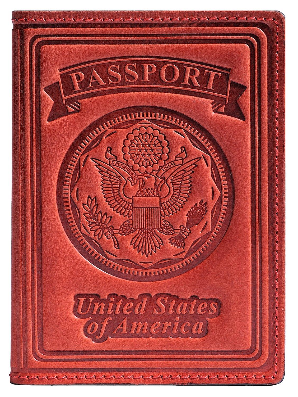 Villini US Passport Holder Cover - Case - Leather Passport Wallet - Organizer For Men Women - Travel Acessories (Red Vintage New) by Villini