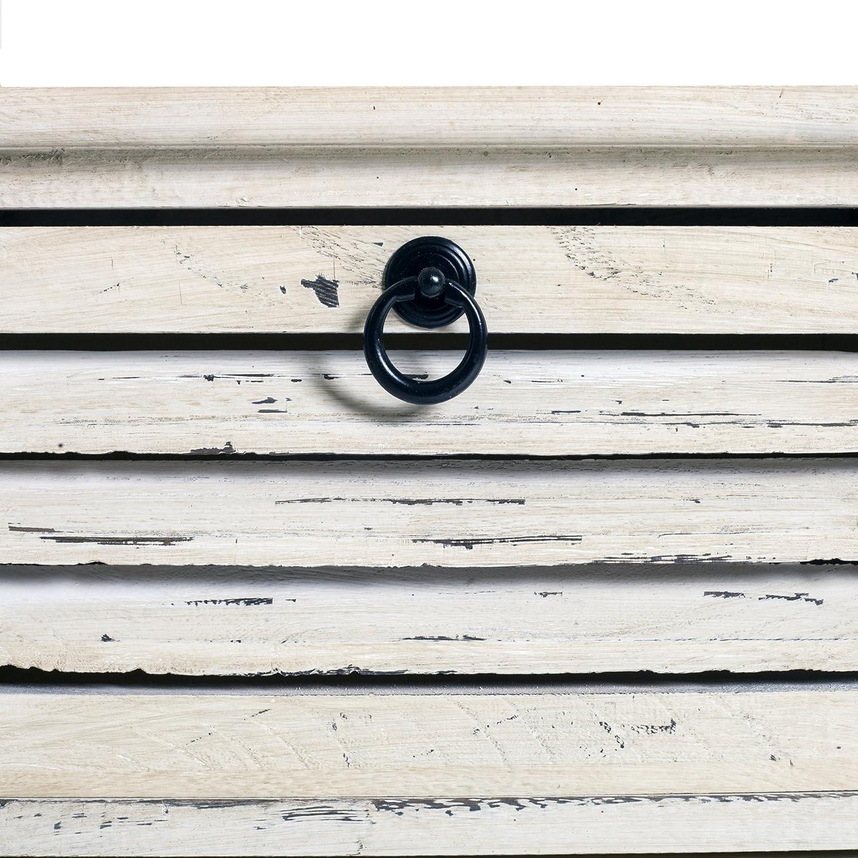 RE4571 Bois de Paulownia HxLxL Dimensions: 45 x 42 x 29 cm - Art Rebecca Mobili Table de Nuit Blanche Vintage Shabby Chic Commode 2 Tiroirs pour Chambre Entree Salle de Bain