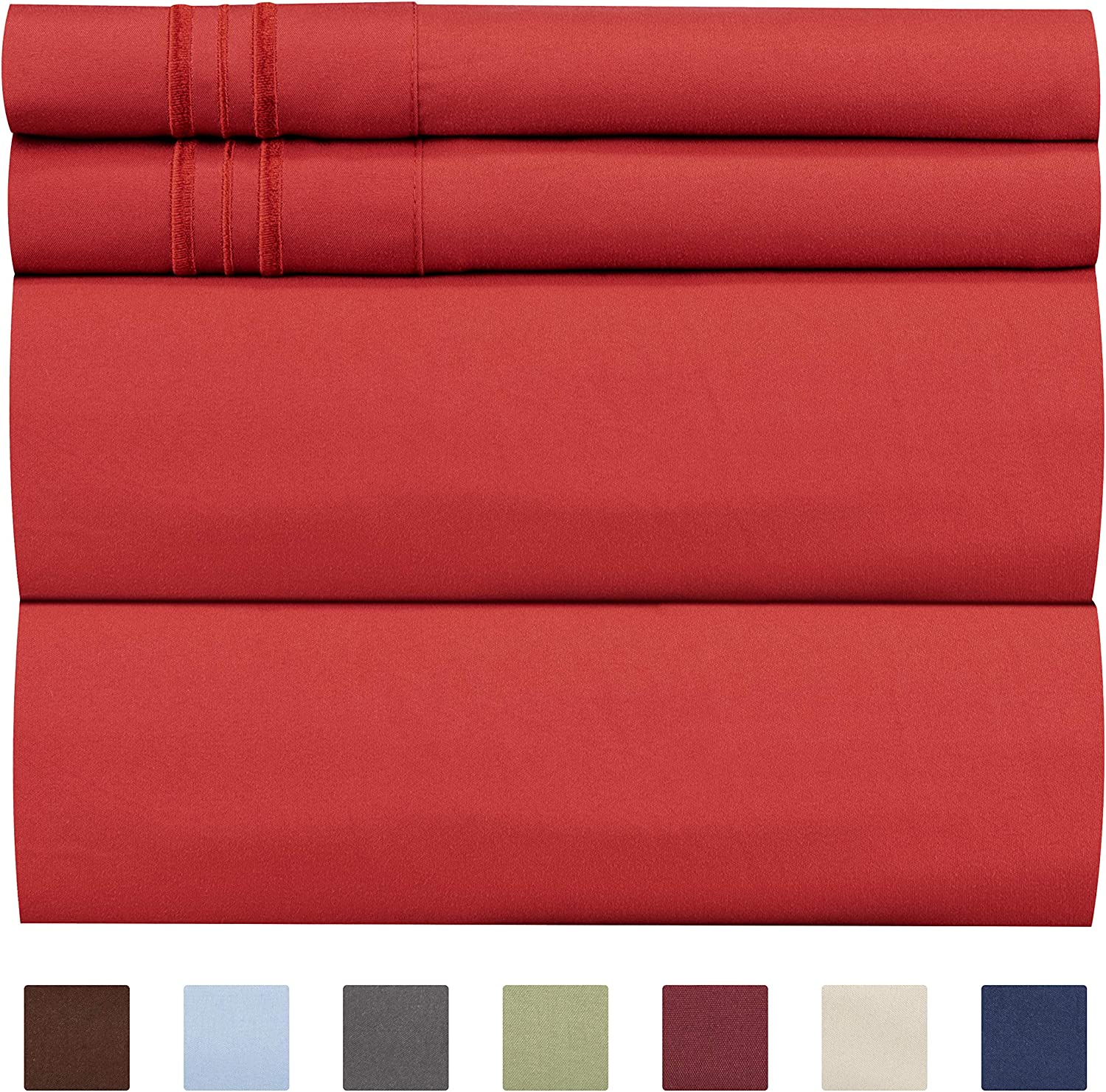 King Size Sheet Set - 4 Piece - Hotel Luxury Bed Sheets - Extra Soft - Deep Pockets - Easy Fit - Breathable & Cooling Sheets - Wrinkle Free - Comfy – Red Bed Sheets - Kings Sheets – 4 PC