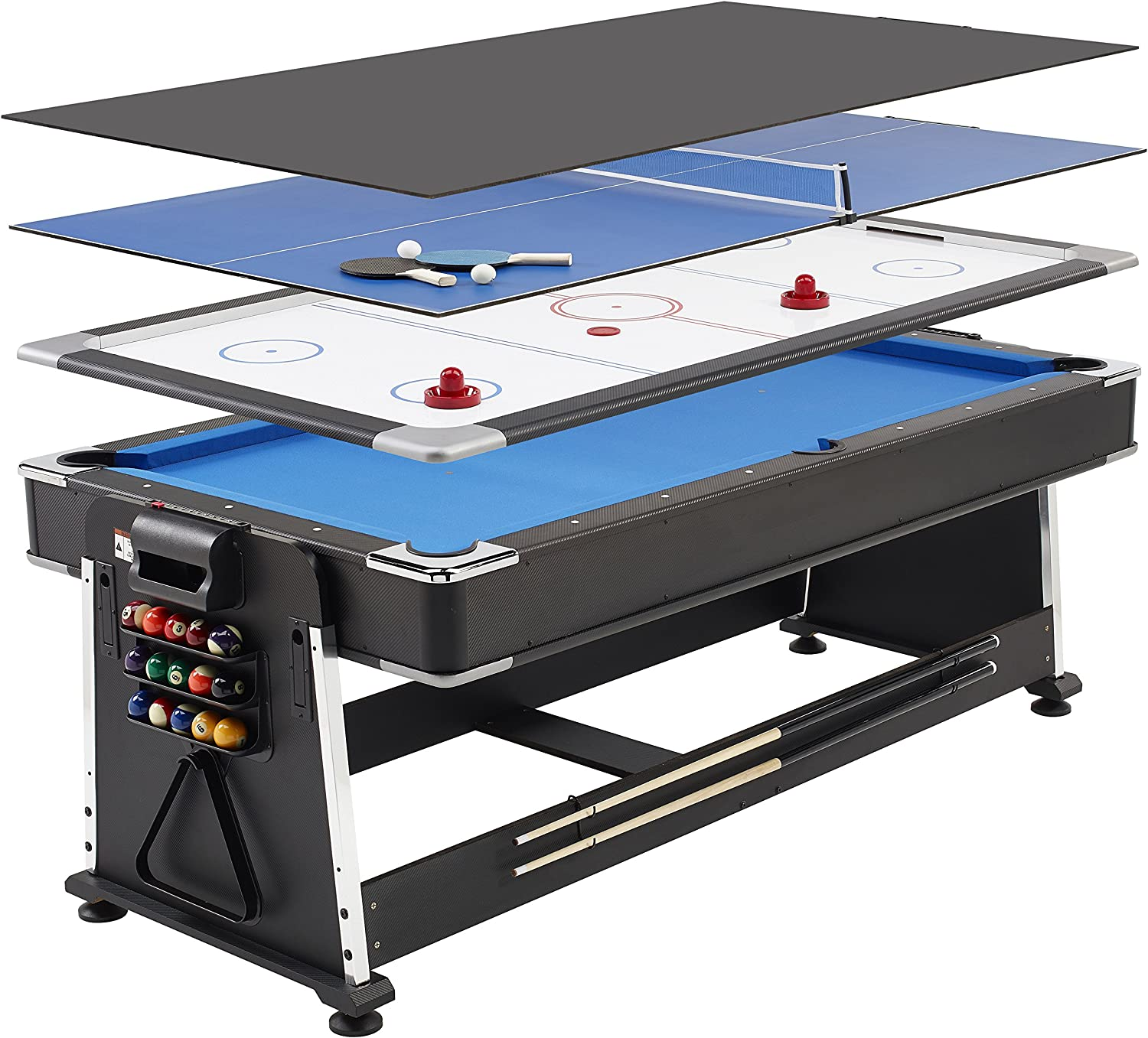- Mightymast Leisure 7ft Full-Size REVOLVER 3-in-1 Multigames Table