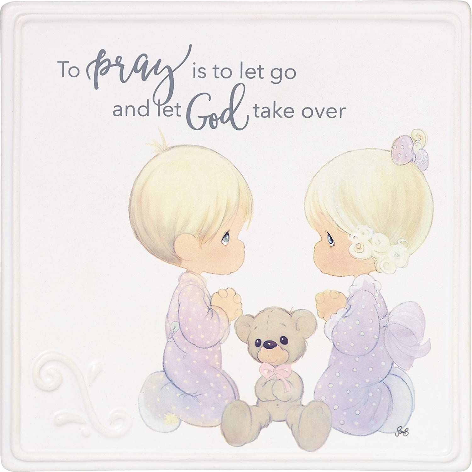 Precious Moments Go and Let God Take Over Ceramic Girl and Boy Praying Tabletop or Wall Decor 185051 Plaque, One Size, Multi