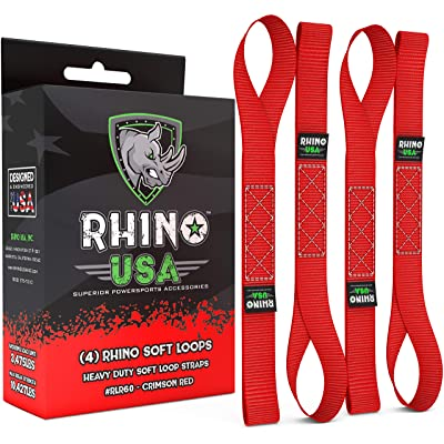 "RHINO USA Soft Loops Motorcycle Tie Down Straps (4pk) - 10,427lb Max Break Strength 1.7"" x 17"" Heavy Duty Tie Downs for use with Ratchet Strap - Secure Trailering of Motorcycles, Kayak, Jeep, ATV, UTV: Automotive"