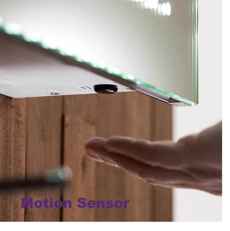 d/étecteur de mouvement et /éclairage LED 50cm x 50cm P Armoire de toilette pour salle de bain avec miroir lumineux antibu/ée x 15cm C18 H prise pour rasoir l