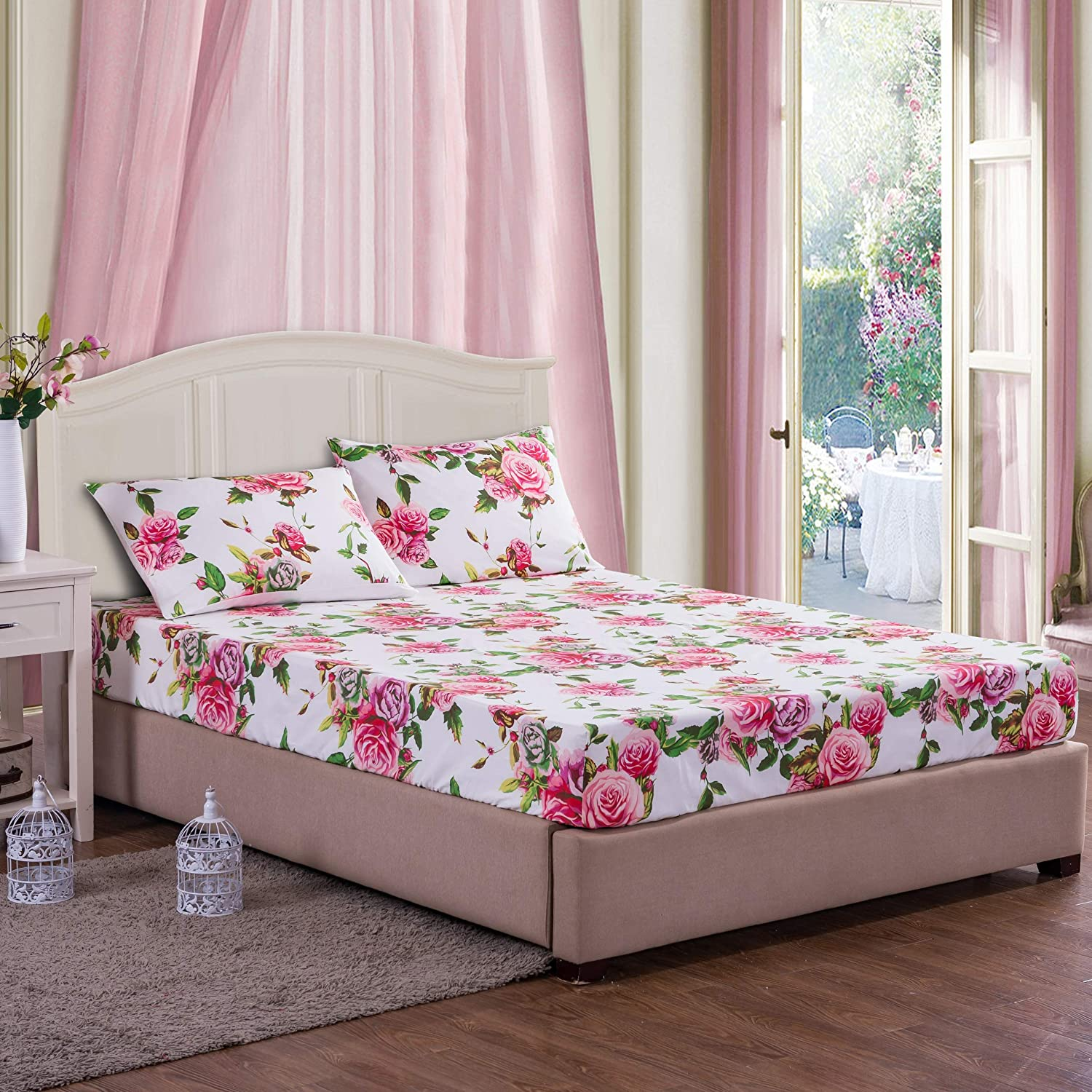 DaDa Bedding Romantic Roses Fitted Sheet Cotton Lovely Spring Pink Floral Colorful 3-Pieces Queen Bright Vibrant w//Pillow Cases Set