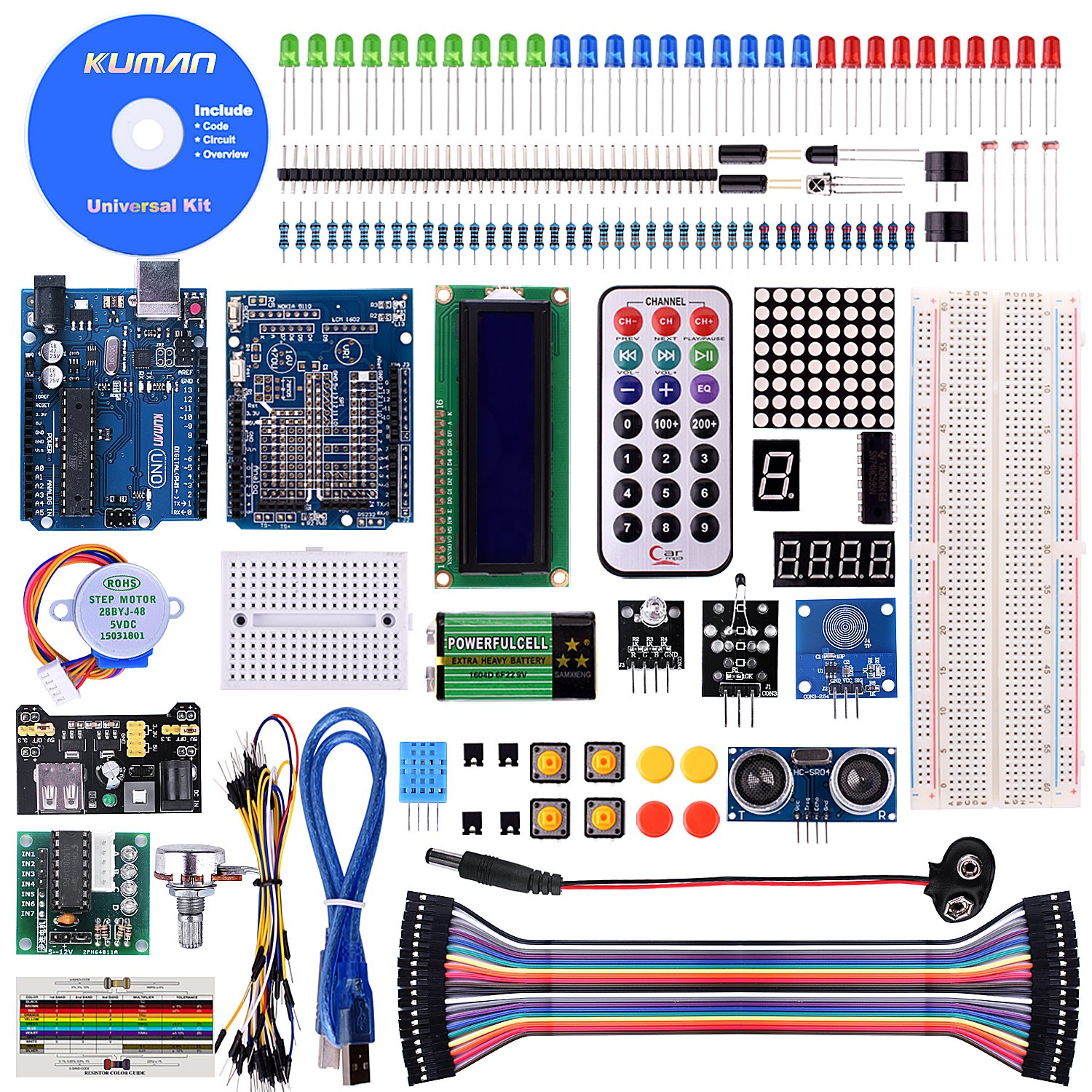 Kuman K4-US for Arduino Project Complete Starter Kit with Detailed Tutorial and Reliable Components for UNO R3 Mega 2560 Robot Nano breadboard Kits