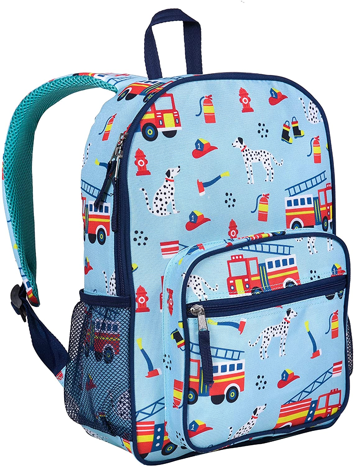 Wildkin Kids Everyday Backpack for Boys and Girls, Ideal for Size for Preschool, Kindergarten & Elementary, Kid Backpacks Measures 14.5 x 10.75 x 3.75 Inches, BPA-Free, Olive Kids (Firefighters)