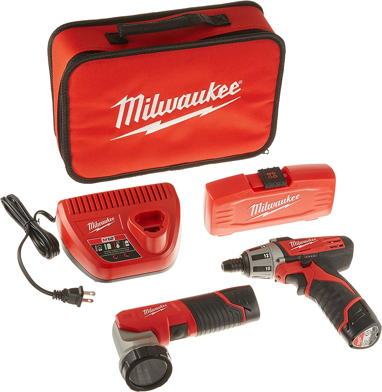 MILWAUKEE ELEC TOOL 2482-22 M12 12V Cordless Lithium-Ion 2 Tool Combo Kit with Bit Set