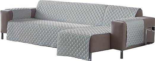Lucena Cantos - Cubre Sofá Reversible, (Linea Gris, Chaise-Longue 200 cm)