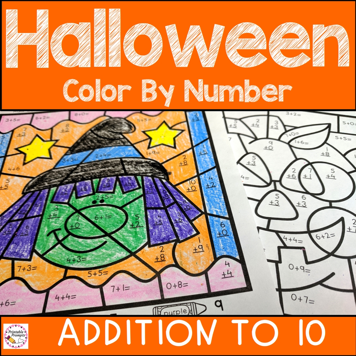 Halloween Colouring Page Printable (Halloween Color By Number Addition to)