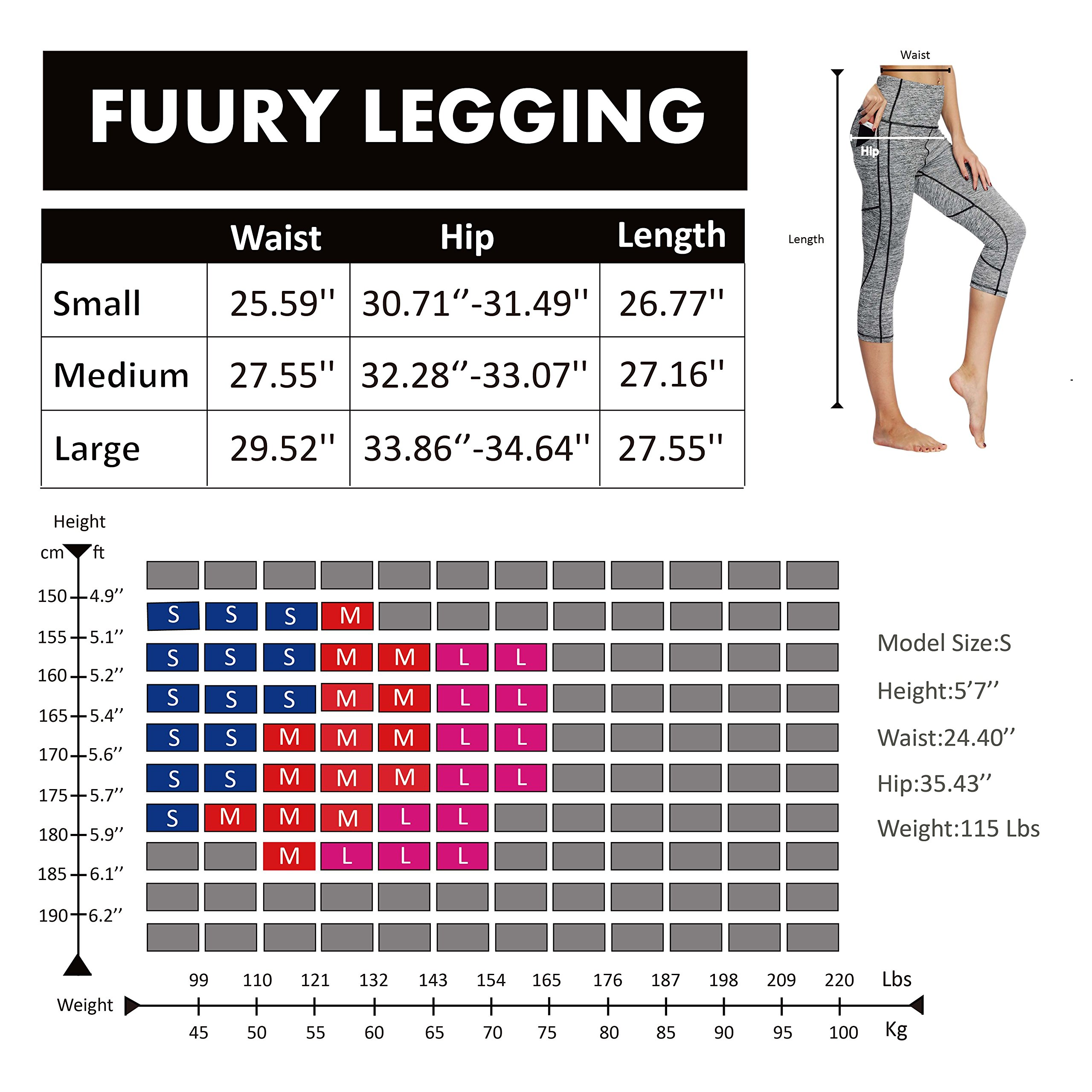FUURY Womens High Waist Yoga Pants Capri Tummy Control Workout Leggings 4 Way Stretch Yoga Leggings with 2 Out Pockets (Light Gray, L)