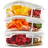 2 Compartment Glass Meal Prep Containers (3 Pack) - Food Storage Containers with Vented Lids   Glass Tupperware Set   Leakproof Food Prep Containers   Portion Control Food Containers   Bento Lunch Box