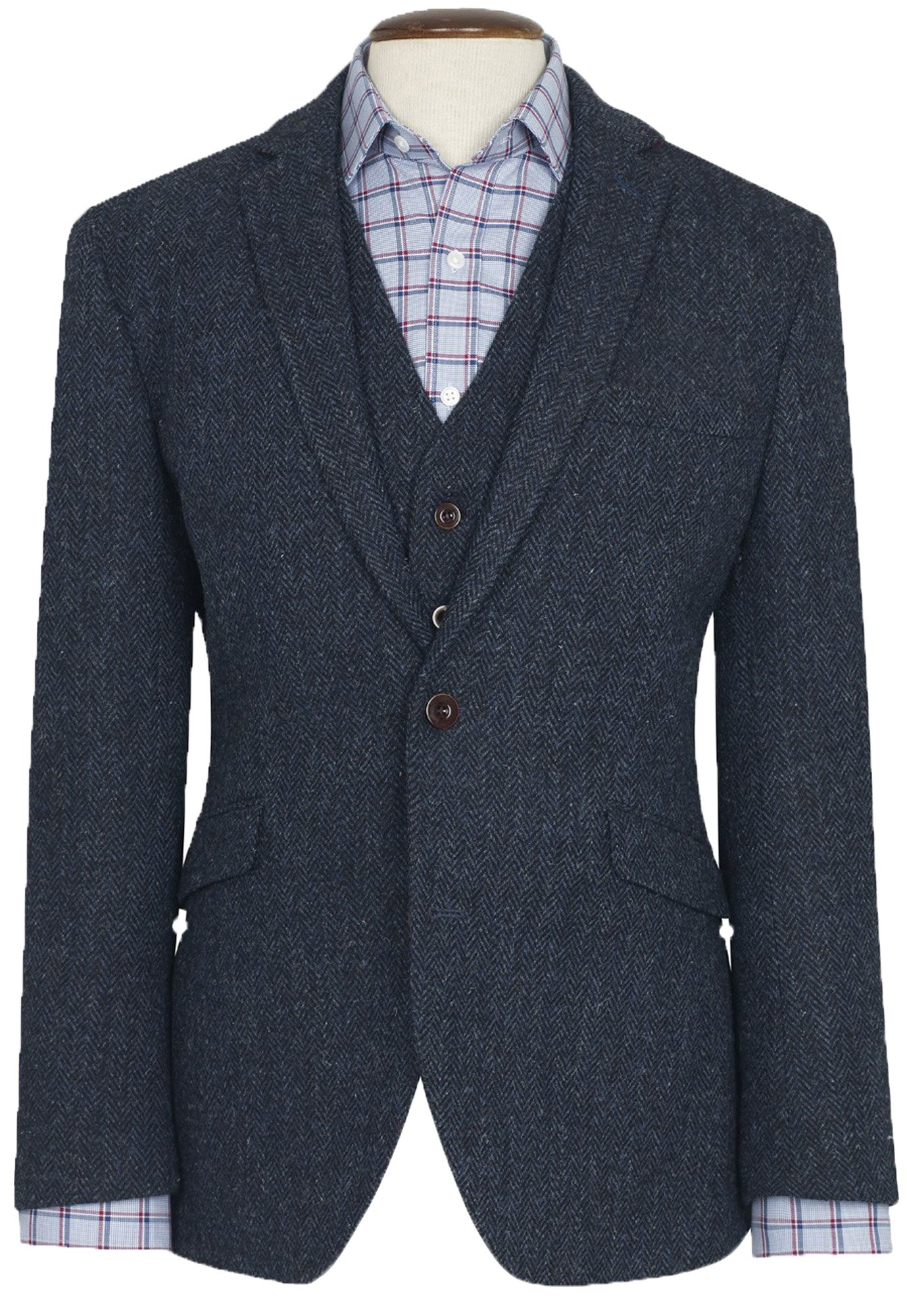 THE FINE SWINE Harris Tweed Coats by (Midnight Blue Stranraer, 40L)