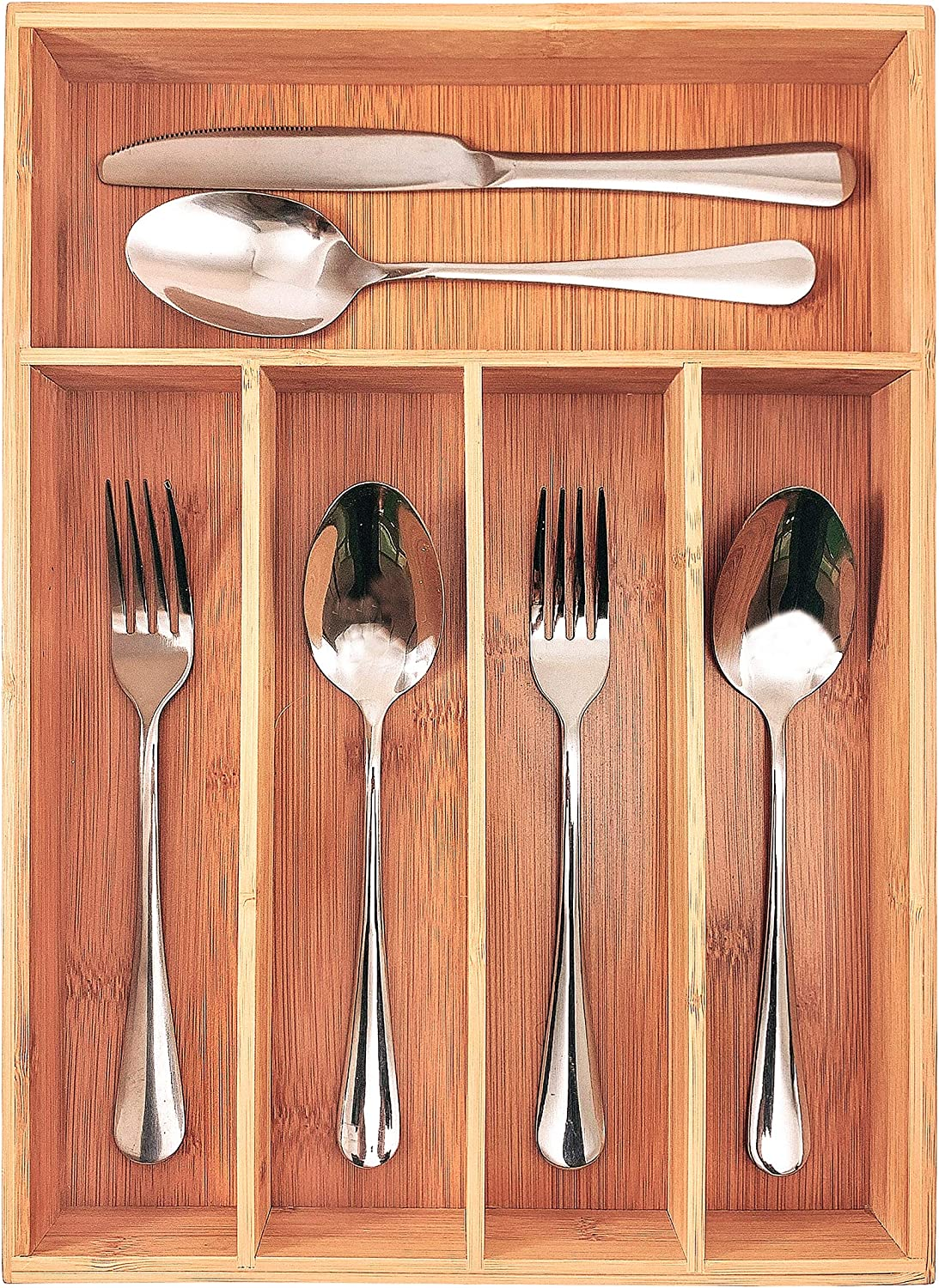 Kitchen Wood Utensil Tray Drawer Organizer,10 INCHES Bamboo Silverware Tray for Drawer,Small Cutlery Organizer, Flatware Holder,Office Storage Organizers,Knife Makeup Desk Drawer Dividers Insert