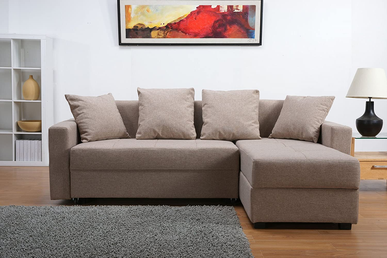 Leader Lifestyle Casa Fabric Platform Sofa Bed With Storage, Mink Brown:  Amazon.co.uk: Kitchen U0026 Home