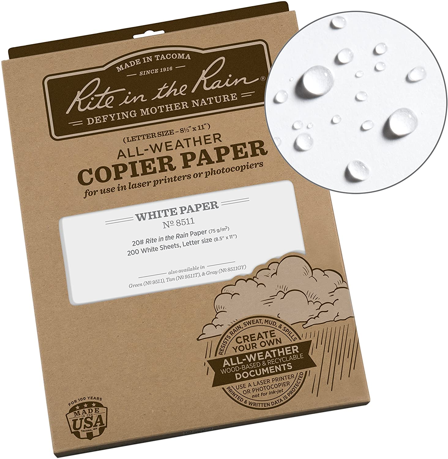 """Rite in the Rain All-Weather Copier Paper, 8 1/2"""" x 11"""", 20# White, 200 Sheet Pack (No. 8511) : Carbonless Copy Paper : Office Products"""