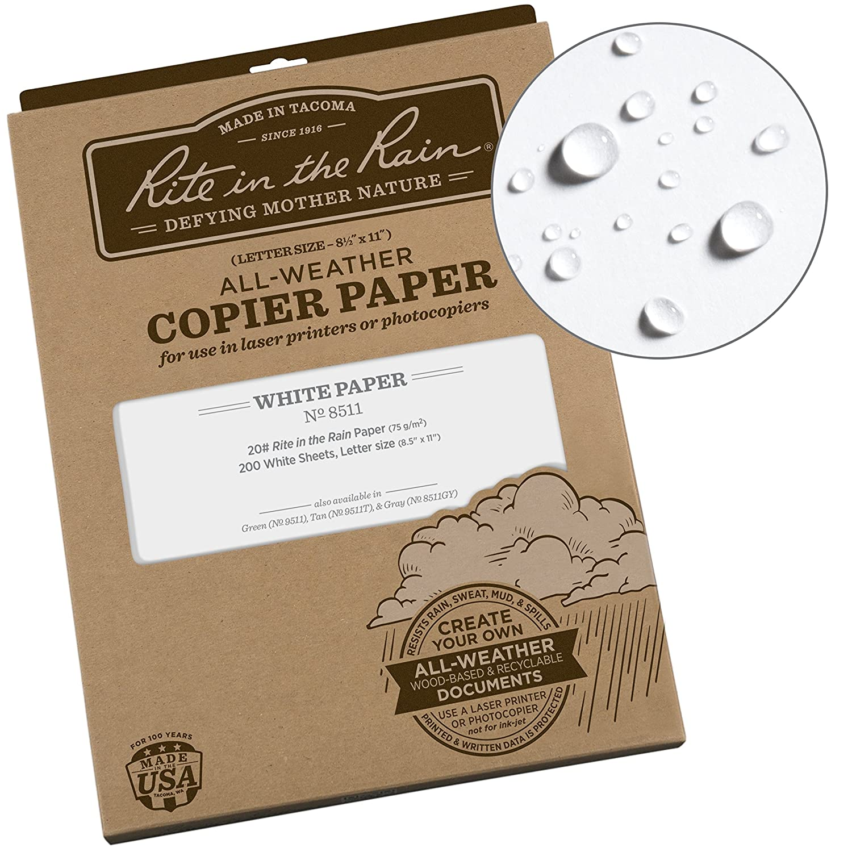 Rite in the Rain toutes saisons papier copieur, 81/5,1x 27,9cm, 20#, Lot de 200feuilles (8511gy) 8 1/2 Inches X 11 Inches Green