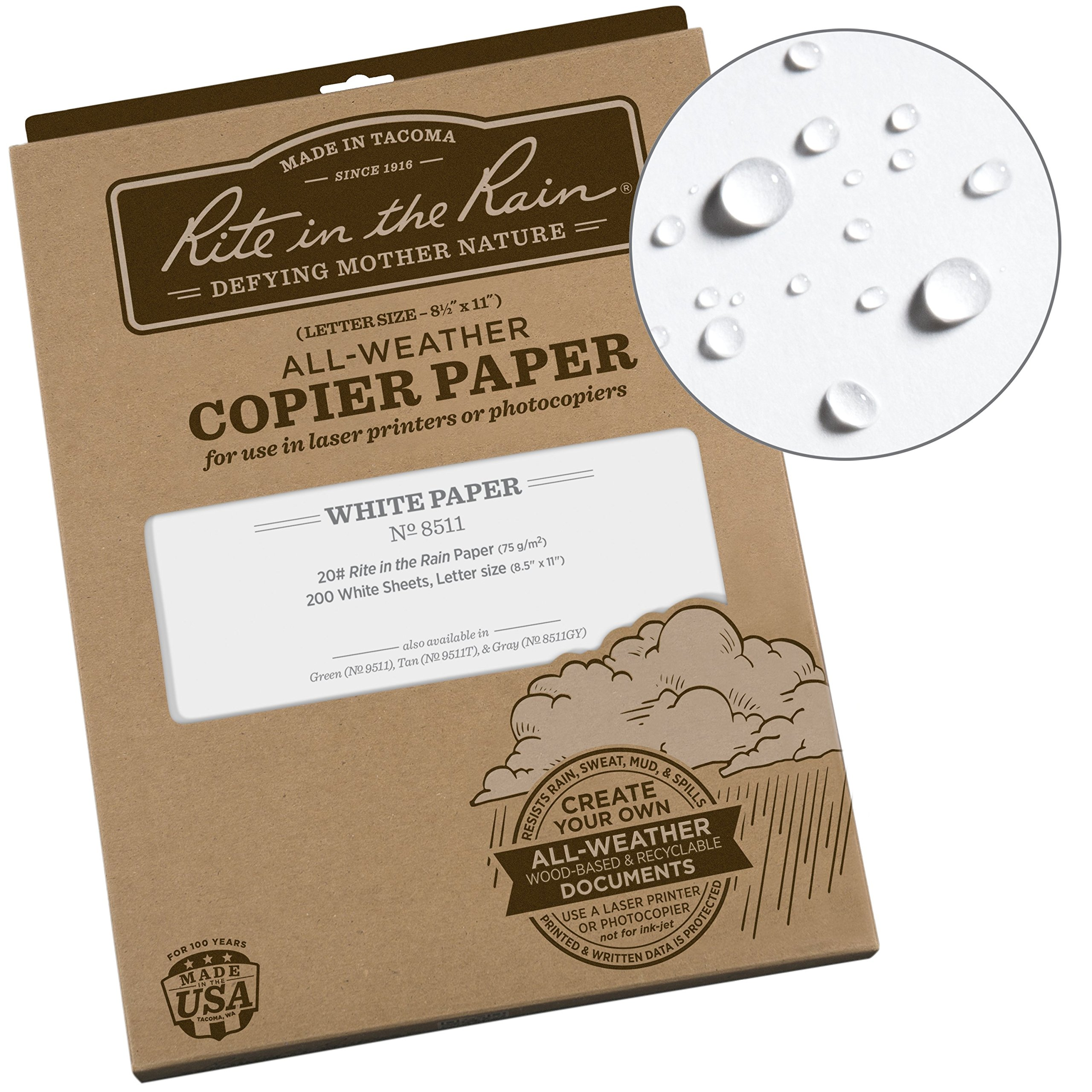 Rite in the Rain All-Weather Copier Paper, 8 1/2'' x 11'', 20# White, 200 Sheet Pack (No. 8511)
