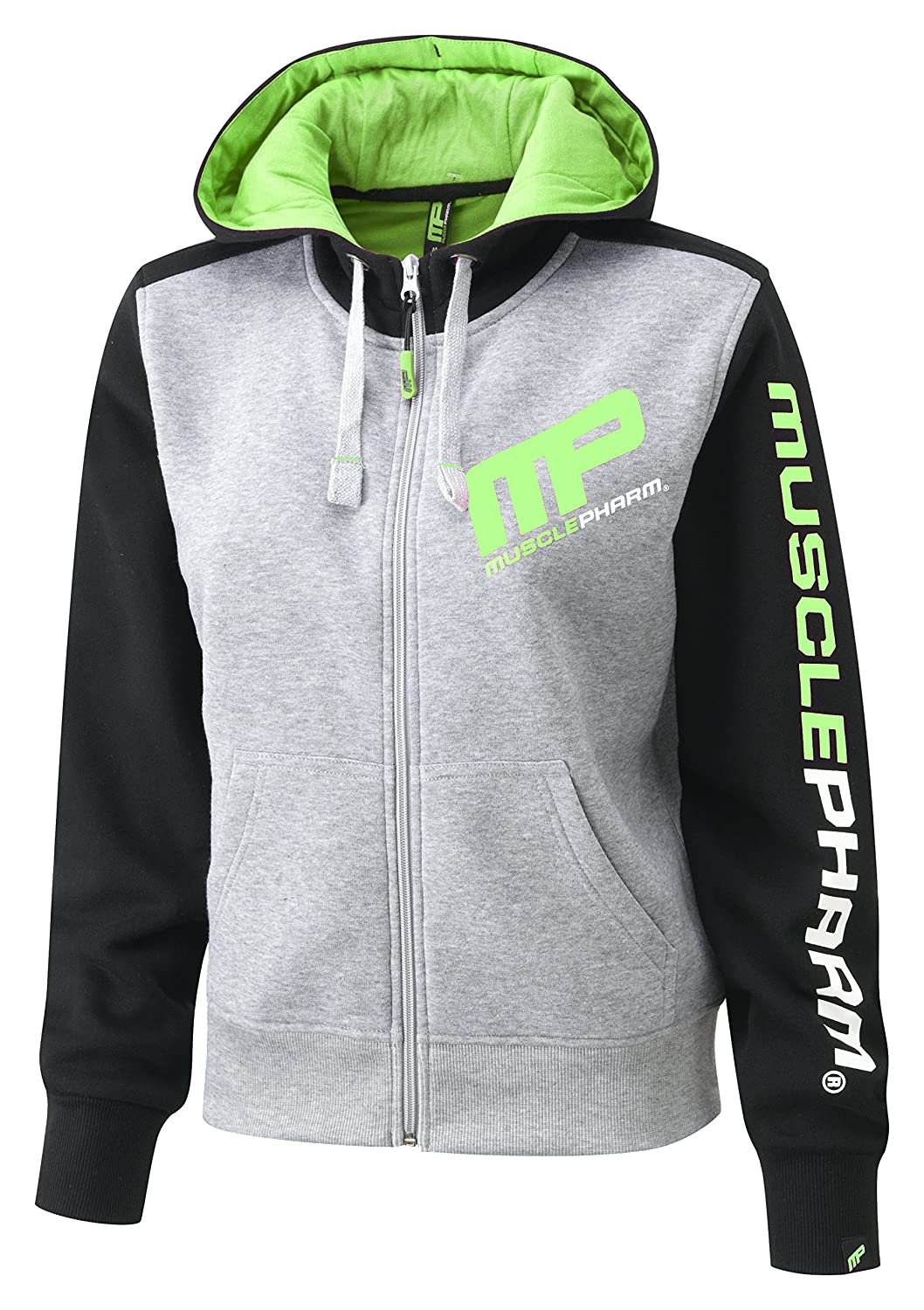 Musclepharm MPLSWT477 - LADIES HOODED TOP - SMALL - H/BLACK/LIME GREEN - De Mujeres Y Cremallera Con Capucha - Heather Gris/Negro/Verde Lima, Pequeño