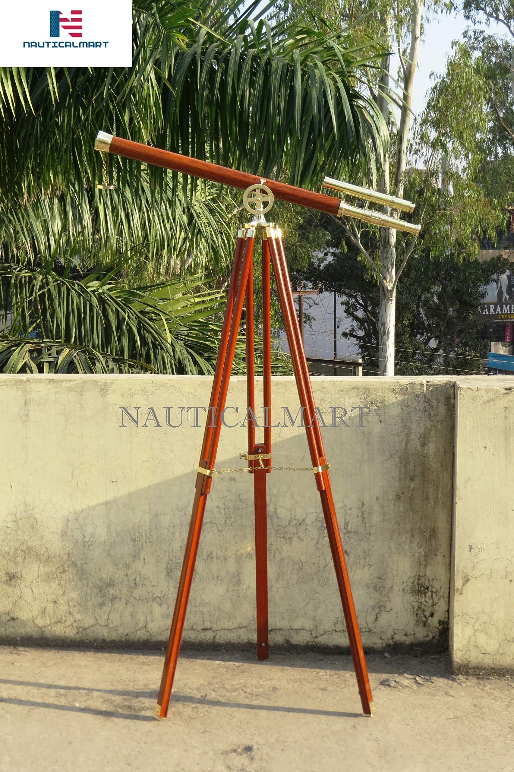 Nauticalmart Floor Standing Solid Brass - Wood Griffith Astro Telescope 64''