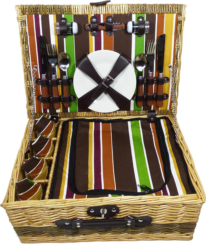 Hochzeit Luxuri/öser Weiden Picknickkorb Buckingham f/ür 4 Personen Mit Passendem Zubeh/ör Ruhestand Eine Ideale Geschenkidee Zum Geburtstag