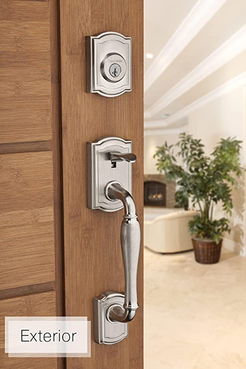 Baldwin Prestige Wesley Single Cylinder Handleset with Carnaby Knob featuring SmartKey in Satin Nickel - Door Handles - Amazon.com