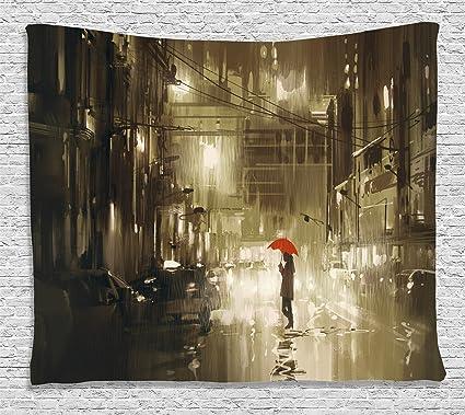 Apartamento Decor Tapestry por Ambesonne, mujer con paraguas rojo en calle en noche de lluvia