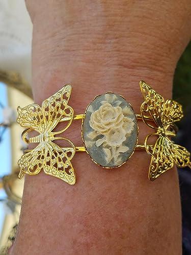 Victorian Style Cameo Cuff Bracelet *Reproduction* Coppertone Filigree