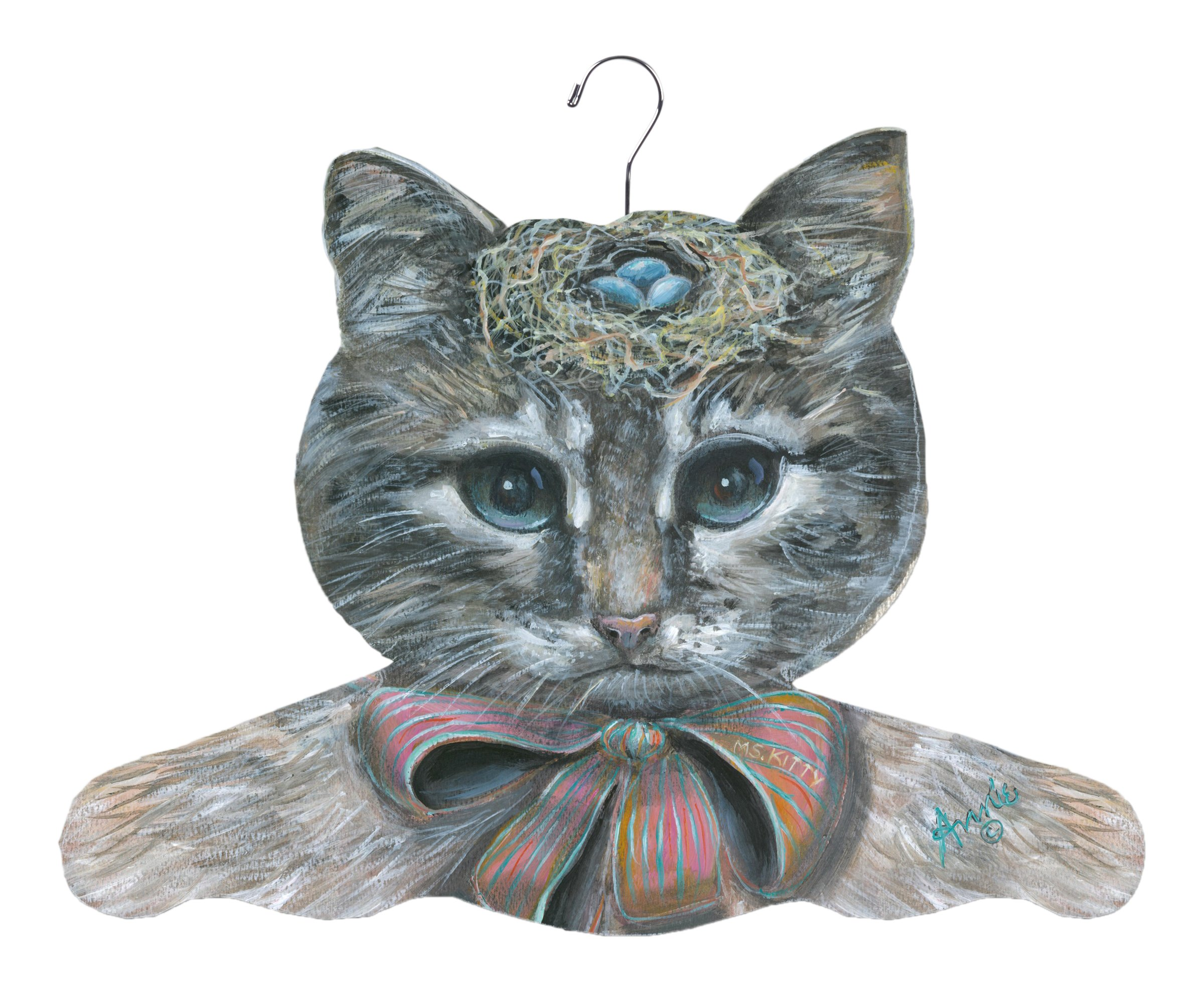 Stupell Home Décor Cat With Nest Hat Hanger, 17 x 0.4 x 11, Proudly Made in USA by The Stupell Home Decor Collection