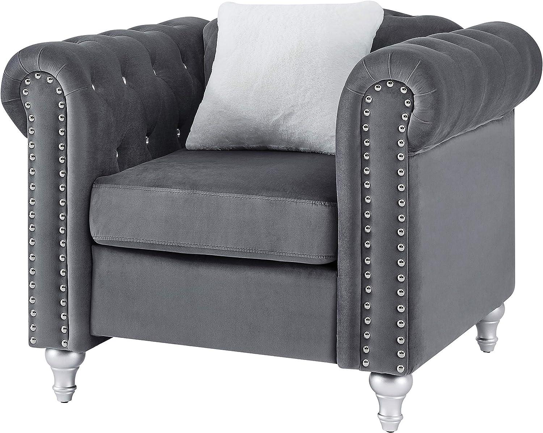 Glory Furniture Raisa , Gray Chair, 1 Seater