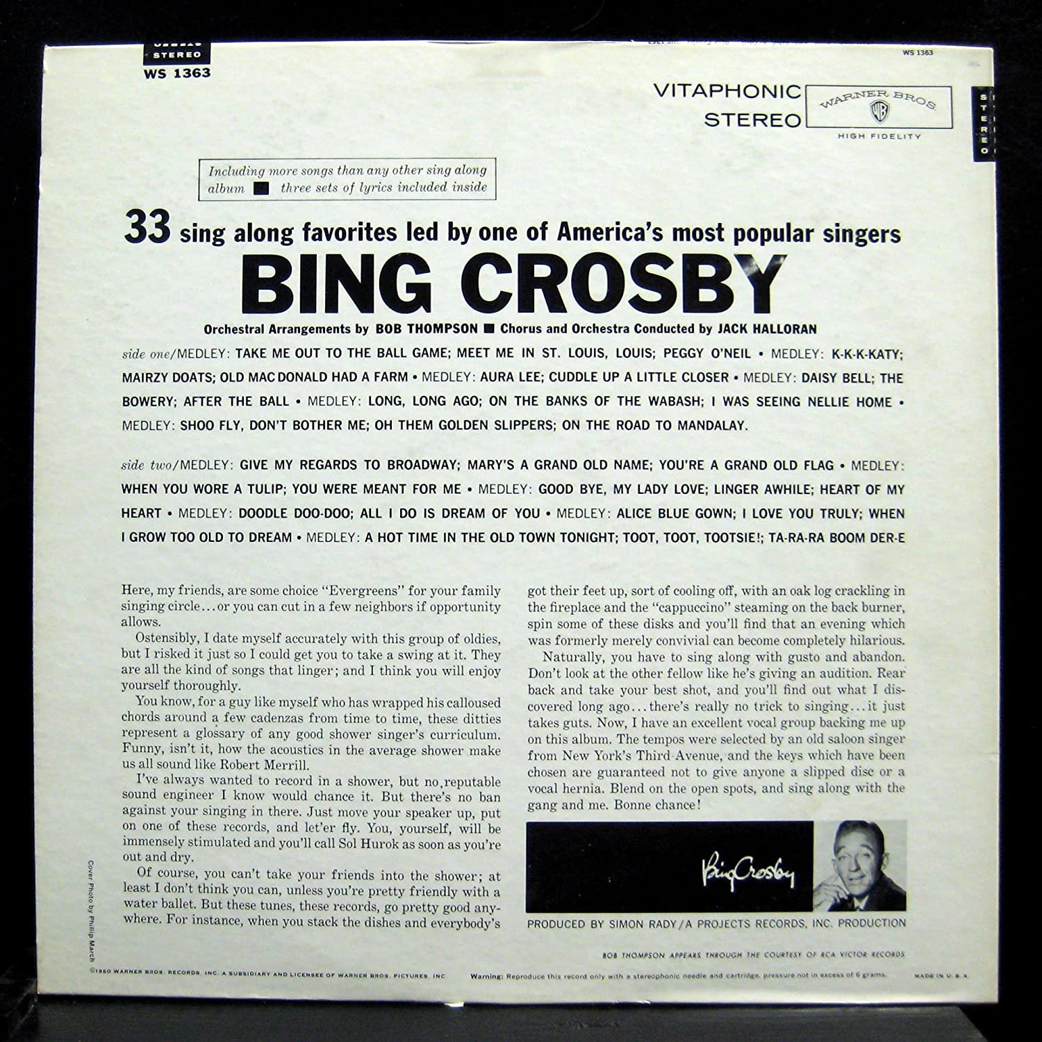 Bing Crosby - BING CROSBY JOIN BING AND SING ALONG vinyl record ...
