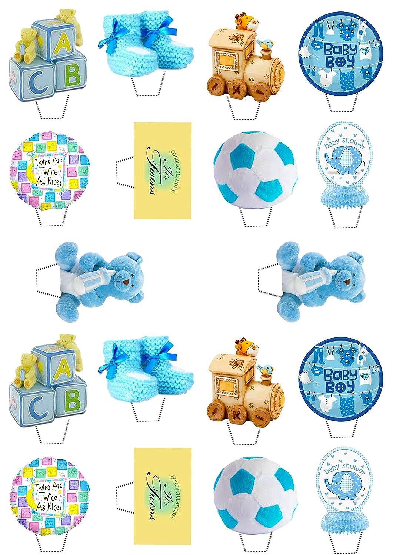 Baby Shower Gemelos/niños, azul - decoración para tarta para comestible stand-up Cupcake de oblea toppers, Pack of 36: Amazon.es: Hogar