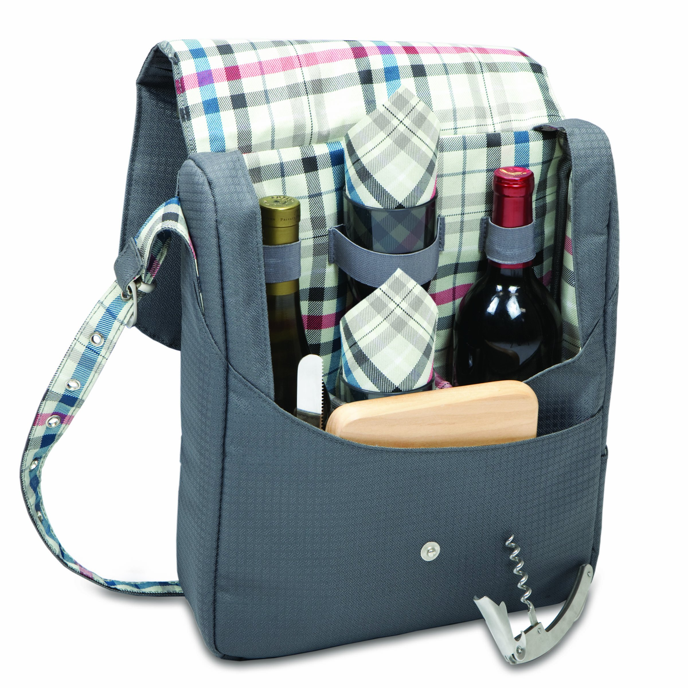 Picnic Time Britannia-Carnaby Street Insulated Dual-Bottle Wine Tote with Service for 2