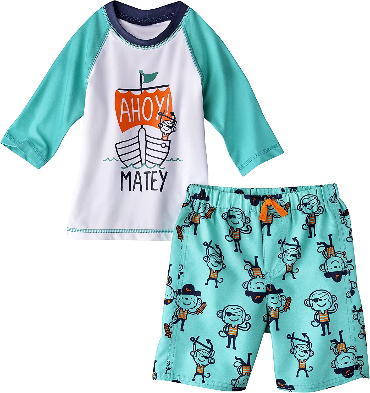 5 Just One You By Carters Pirate Rash Guard and Swim Trunks Set