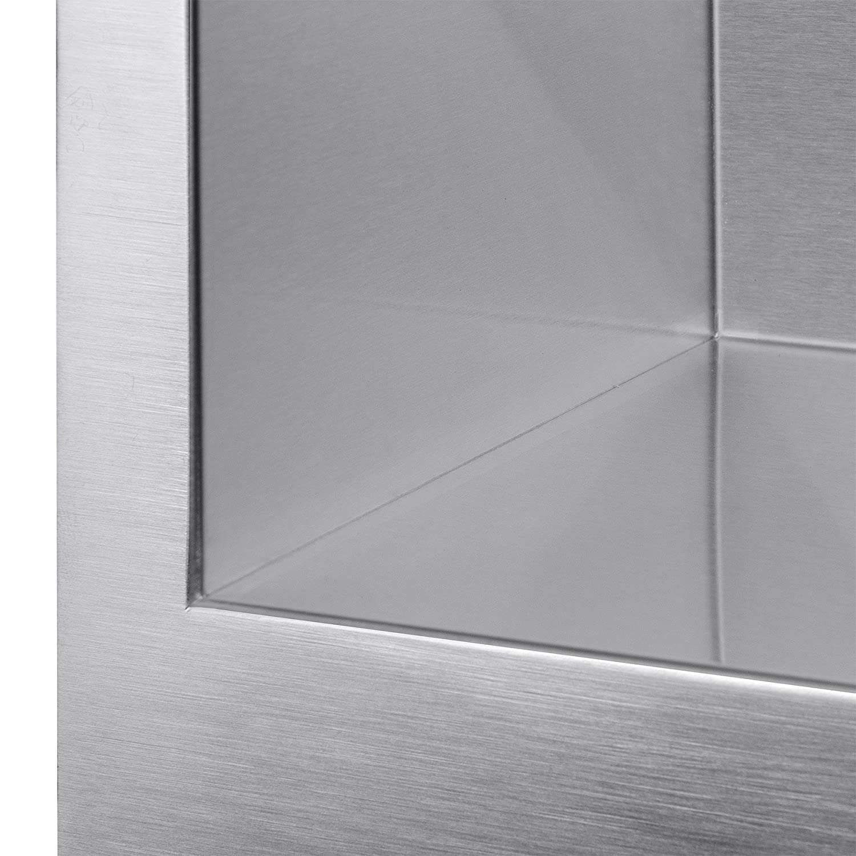 Firebird 33 x 20 x 9 Apron Farmhouse Handmade Stainless Steel Double Bowl 60//40 Kitchen Sink w// Drain Strainer Kit Adjustable Tray