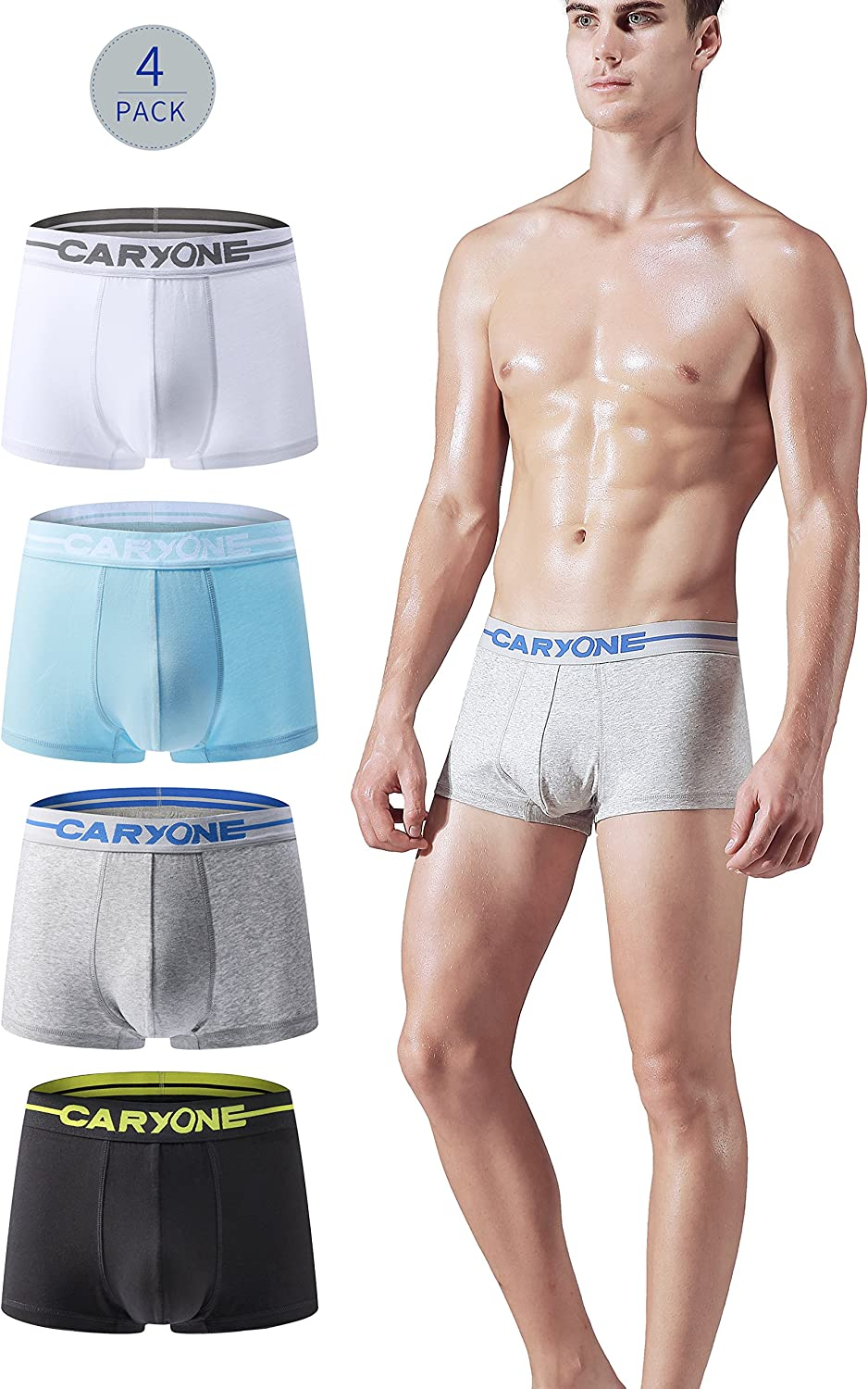 Antibacterial Pouch Workout Sports Active Underwear Boxer Briefs CARYONE Mens Quick Dry Stretch Cotton Boxers 4-Pack