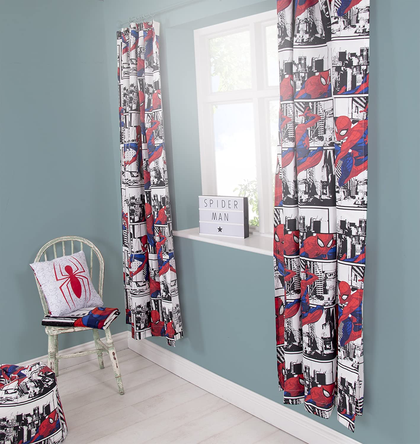 Disney Spiderman Metropolis | Childrens Bedroom 54 Inch Curtains | Perfect For Any Boys Bedroom