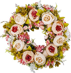 BOMAROLAN Artificial Peony Flower Wreath 19Inch Vintage Blooming Silk Peonies Spring Summer Fall Winter Large Wreaths Flower Green Leaves for Outdoor Front Door Indoor Wedding Wall Or Window Décor
